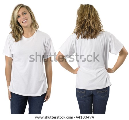 Young beautiful blond female with blank white shirt, front and back. Ready for your design or logo. - stock photo