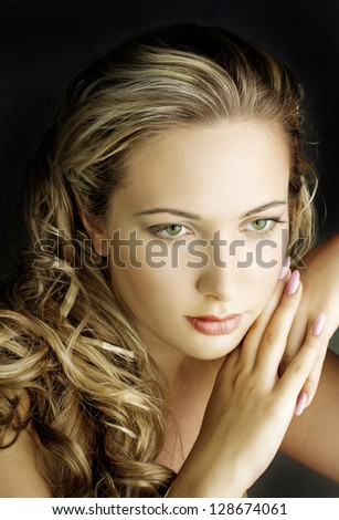 young beautiful blond female with long hair