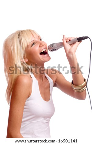 Young beautiful blond girl singing isolated on white - stock photo