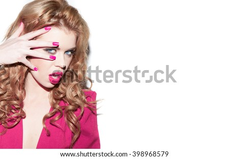 Young beautiful blond girl with fresh pink make-up and manicure over white background - stock photo
