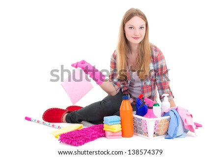 young beautiful blond sitting with cleaning equipment isolated on white background