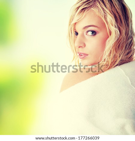 Young beautiful blond teen woman  - stock photo