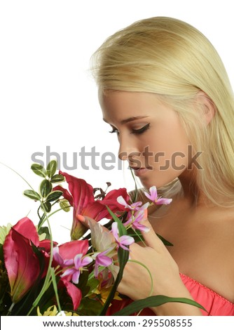 Young Beautiful blond with flowers isolated on a white background - stock photo