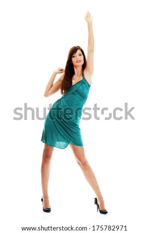 Young beautiful blond woman in elegant, evening dress - stock photo
