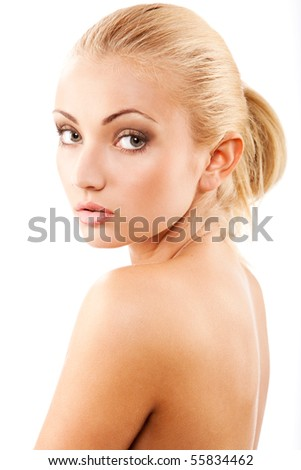 young beautiful blond woman isolated at white background