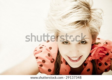 Young beautiful blond woman portrait. - stock photo