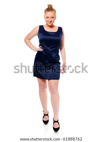 Young Beautiful Blond Woman standing isolated on white - stock photo