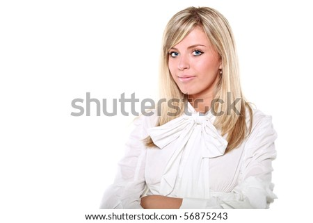 Young beautiful blonde business woman isolated over a white background