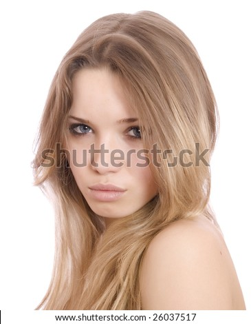 young beautiful blonde on a white background