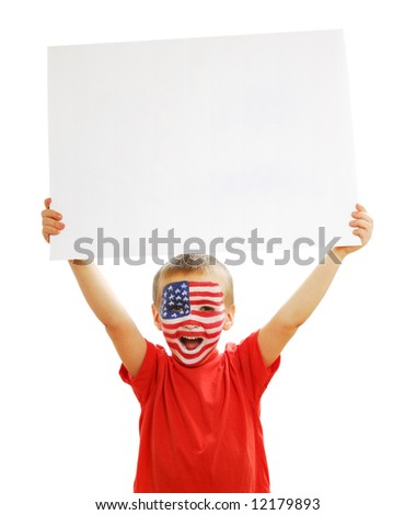 Young beautiful boy holding the blank white paper poster - stock photo
