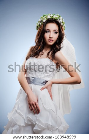Young beautiful bride in a luxurious wedding dress