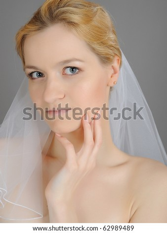 young beautiful bride with perfect hand  manicure