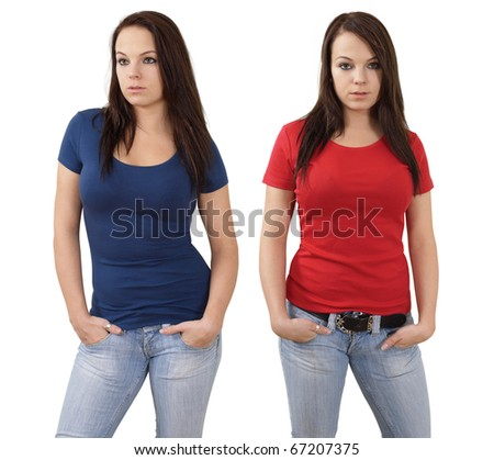 Young beautiful brunette female with blank red shirt and blue shirt. Ready for your design or logo.