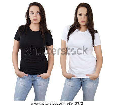 Young beautiful brunette female with blank white shirt and black shirt. Ready for your design or logo.