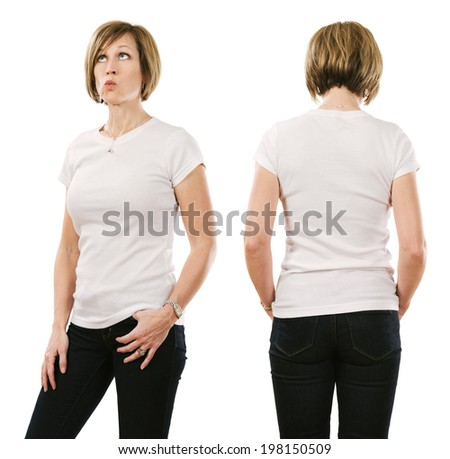 Young beautiful brunette female with blank white shirt, front and back. Ready for your design or artwork.