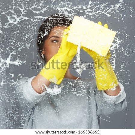 Young beautiful brunette woman cleaning window glass - stock photo