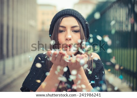 young beautiful brunette woman girl outdoor - stock photo