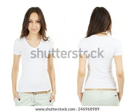 Young beautiful brunette woman in white shirt on white background