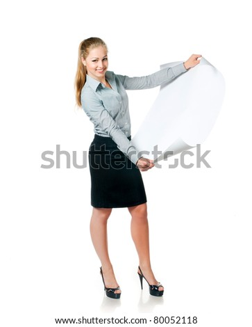 young beautiful business lady with blank for your picture or text