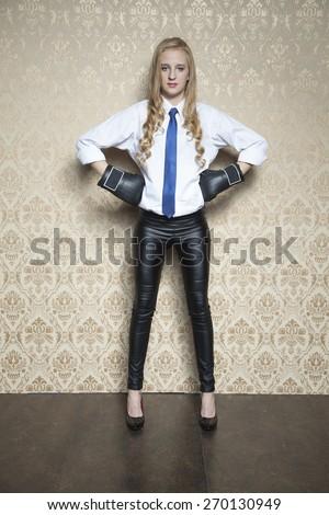 Young beautiful business woman, an attitude - stock photo