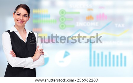 Young beautiful Business woman over blue background.