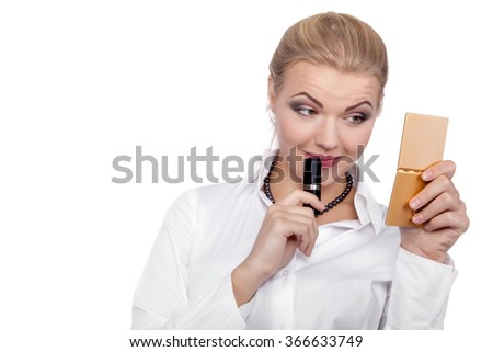 Young Beautiful Business Woman putting make-up - Stock Image - stock photo