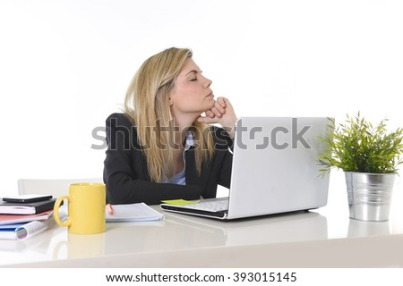 young beautiful business woman suffering stress working at office computer desk feeling tired and desperate looking overworked overwhelmed and frustrated - stock photo