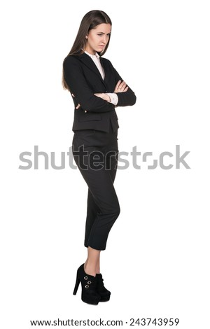 Young beautiful business woman thinking / making choice, isolated on white - stock photo