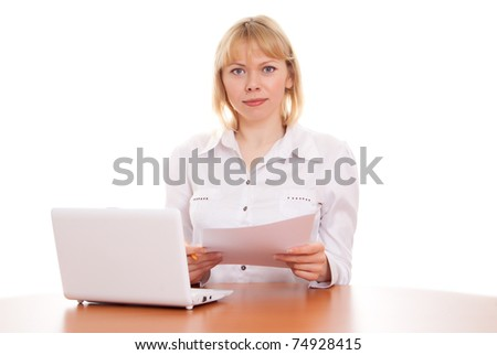 Young beautiful business woman working in the office on a white background - stock photo