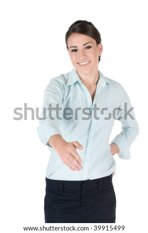 Young, beautiful businesswoman extending out her hand for handshake, happy and smiling, isolated on white background - stock photo