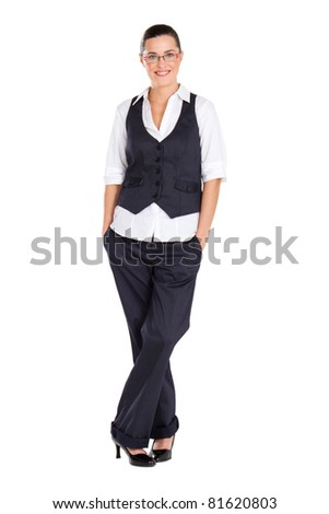 young beautiful businesswoman full length studio portrait - stock photo