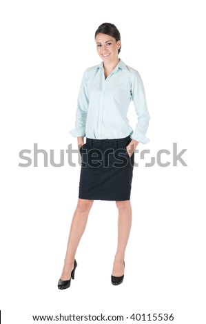 Young, beautiful businesswoman, happy and smiling, isolated on white background - stock photo