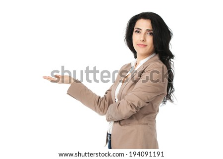Young beautiful businesswoman isolated on white background - stock photo