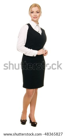 Young beautiful businesswoman, isolated on white background - stock photo