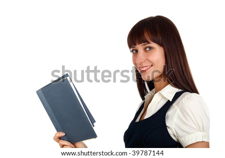 young beautiful businesswoman reading a book - stock photo