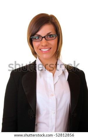 young beautiful businesswoman smiling on white background