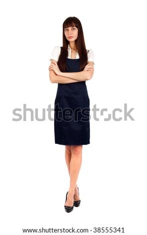 young beautiful businesswoman standing studio shot on white - stock photo