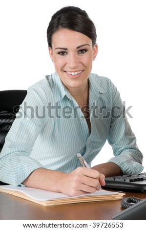 Young, beautiful businesswoman taking notes at work, happy and smiling, isolated on white background