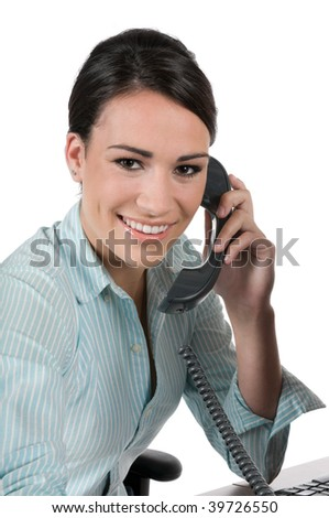 Young, beautiful businesswoman talking on the phone at work, happy and smiling, isolated on white background - stock photo