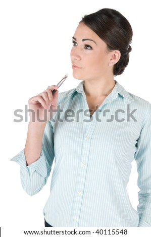 Young, beautiful businesswoman thinking, pondering some problem, isolated on white background