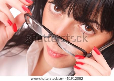 Young beautiful businesswoman wearing glasses - stock photo