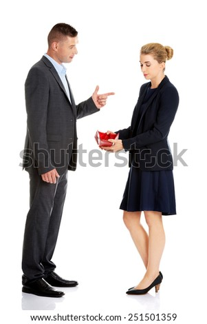 Young beautiful businesswoman with an empty wallet