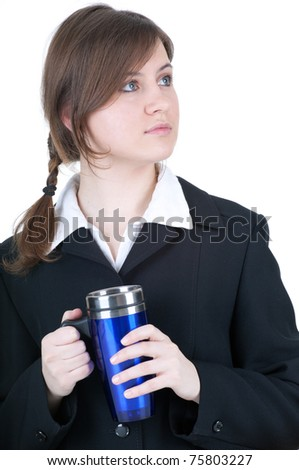 young beautiful businesswoman with big blue cup