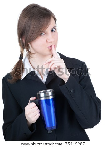young beautiful businesswoman with big blue cup, keeping silence