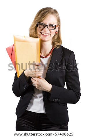 Young beautiful businesswoman with colored folders strong dressed is smiling - stock photo