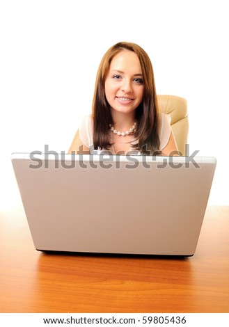 Young beautiful businesswoman with laptop isolated over white - stock photo