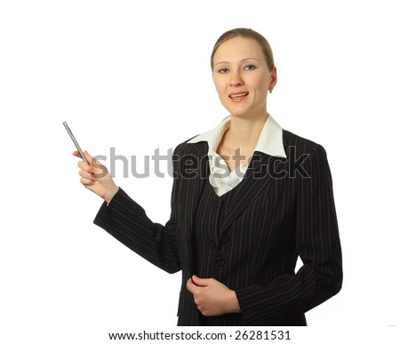 Young beautiful businesswoman with pen isolated on white background