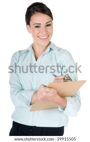 Young, beautiful businesswoman writing on clipboard at work, happy and smiling, isolated on white background - stock photo