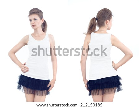 Young beautiful casual girl with blank shirt, front and back on white background for design, artwork, print, advertising, banner  - stock photo
