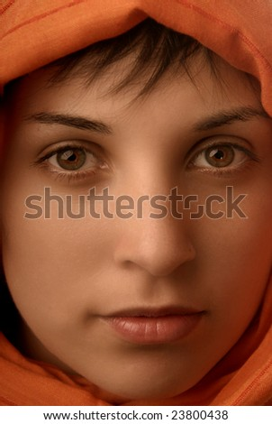 young beautiful casual woman, close up portrait - stock photo